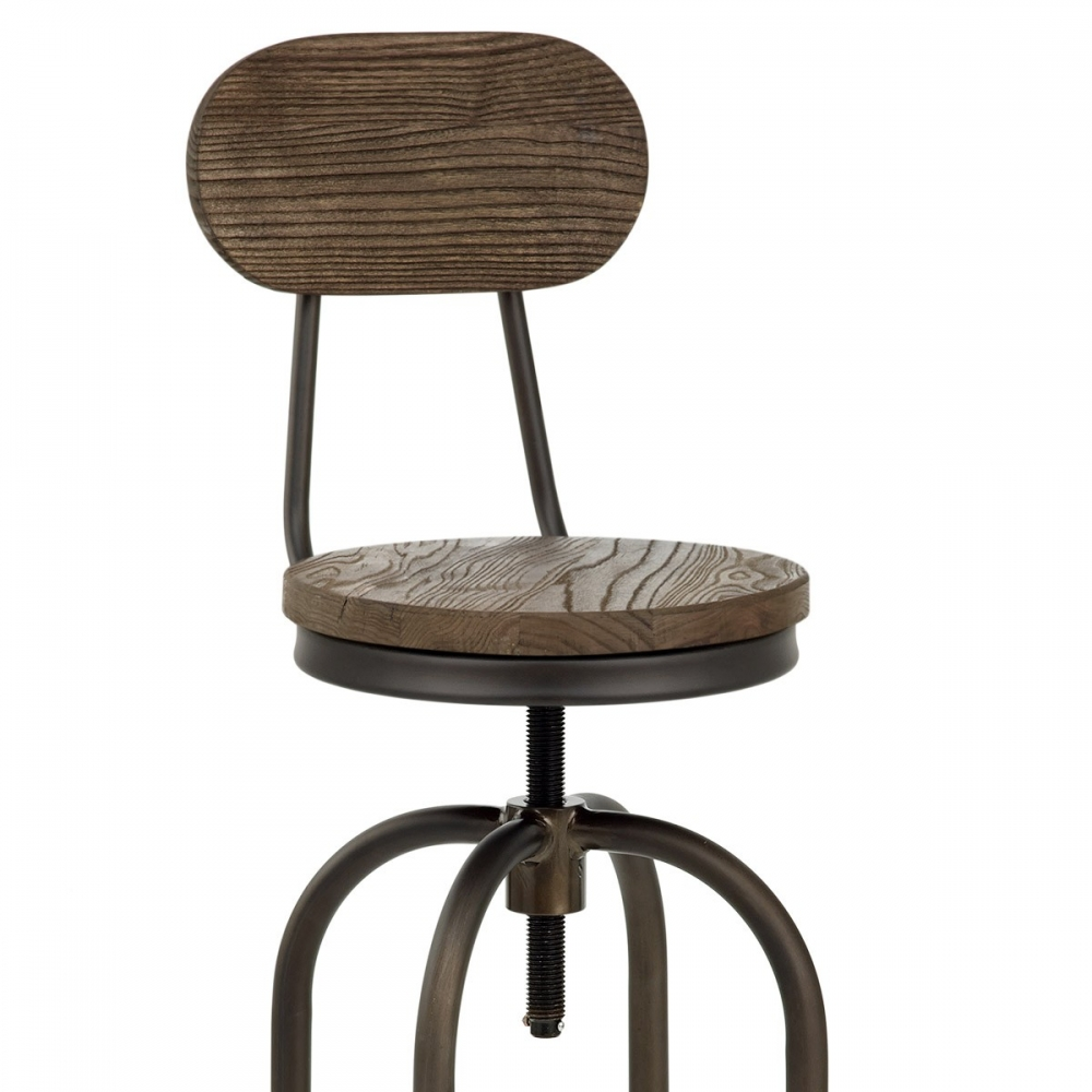 Taburete en madera y metal vintage swivel for Taburete bar madera