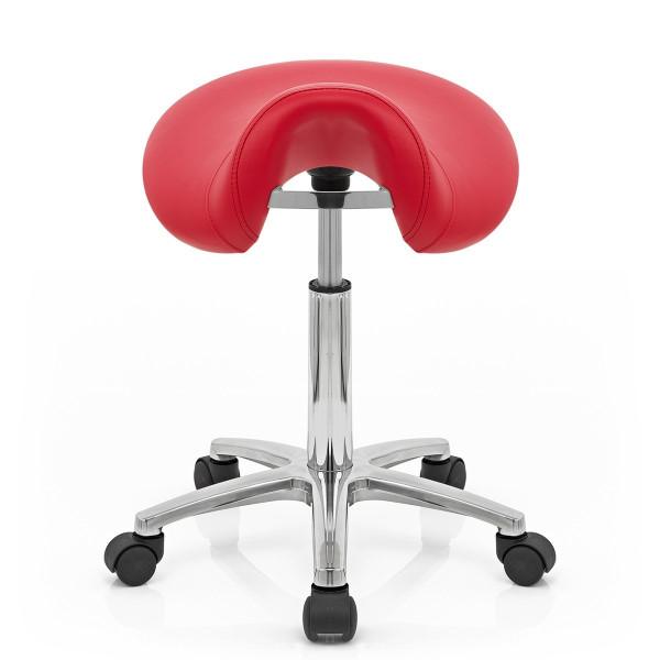 Sillín Polipiel Cromo - Saddle Deluxe Rojo