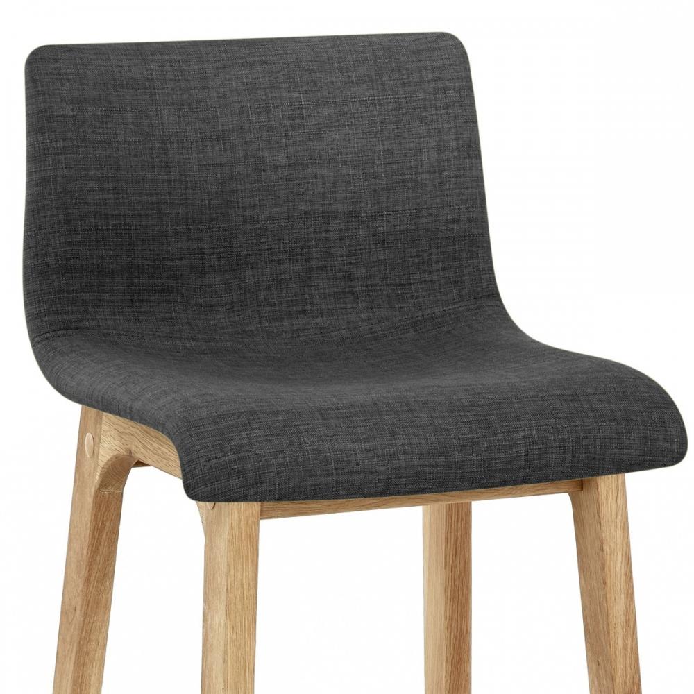 Taburete drift con estructura en madera y asiento tapizado - Taburete madera bar ...