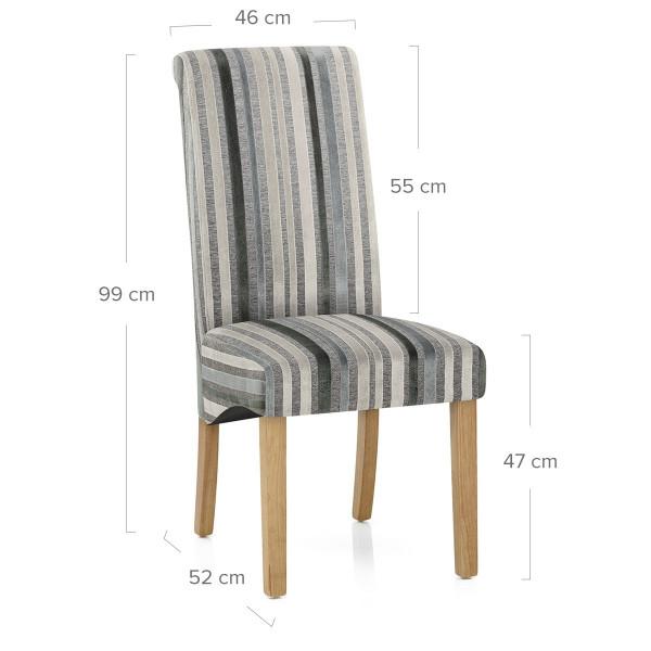 Roma Dining Chair Blue / Grey Stripes